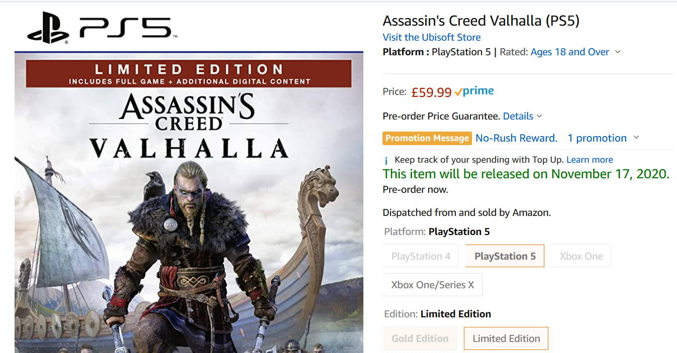 Assassin S Creed Valhalla Ps5 Can Now Be Pre Ordered On Amazon Uk Playstation Fanatic